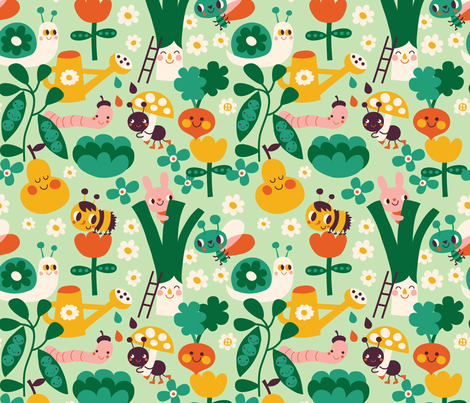 in the garden fabric by bora on Spoonflower - custom fabric