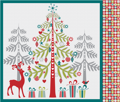 Christmas tree wall hanging fabric by ebygomm on Spoonflower - custom fabric