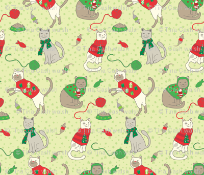 Cats with Christmas Sweaters