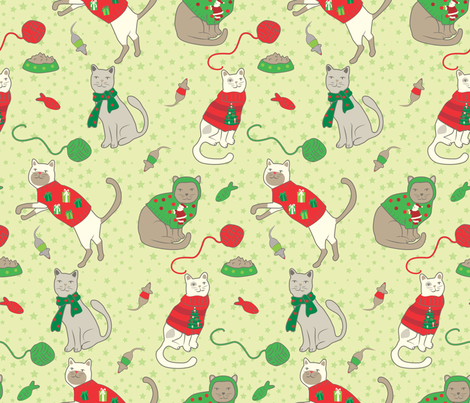 Cats with Christmas Sweaters fabric by tina_cash_designs on Spoonflower - custom fabric
