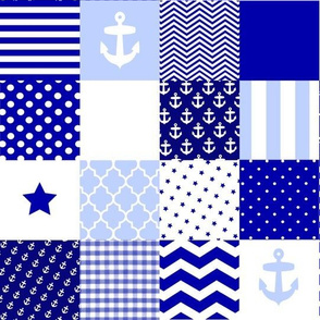 Nautical blue and white cheater quilt