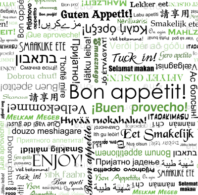 Bon appetit in many different languages green wallpaper for Green in different languages