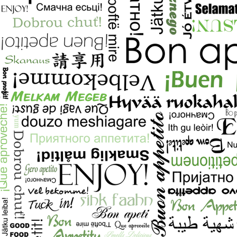 bon appetit in many different languages green fabric