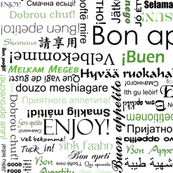 Bon appetit in many different languages - green