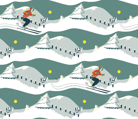 Skiing_at_full_moon fabric by alfabesi on Spoonflower - custom fabric