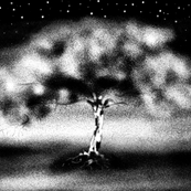 luminescent tree B&W PILLOW PANEL