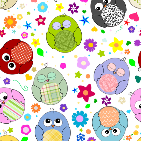 Cute owls and flowers pattern