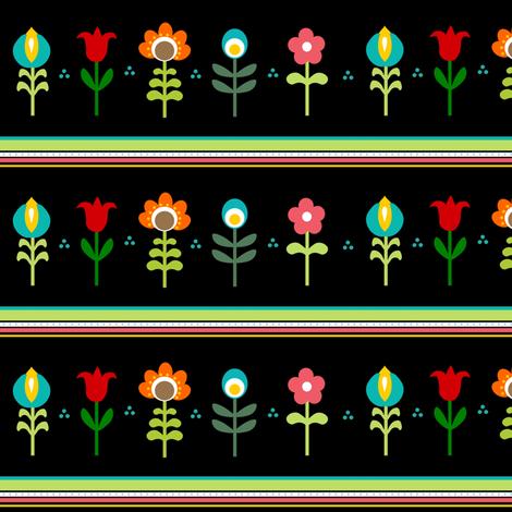 Retro Folk Flowers on black