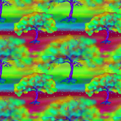 COLORFUL TREE BORDEAUX LARGE REPEAT