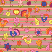 Birds, fruits and flowers