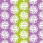 Fun Flowers white on purple green Stripes