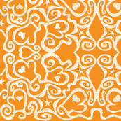 Ditsy Mittens, orange/white