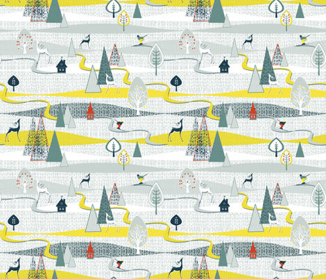 THE MAGIC OF SKIING fabric by mariskadesign on Spoonflower - custom fabric