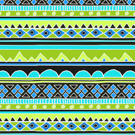 Green and Blue Aztec Tribal Pattern fabric by inspirationz on Spoonflower - custom fabric