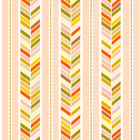 Fiery Herringbone Stripes on Blush