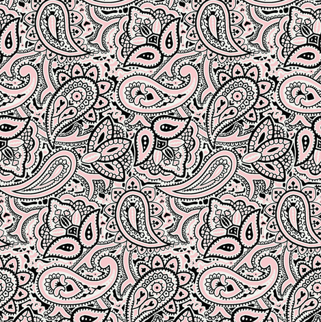 Persnickety Paisley ~ Dauphine, Blackmail And White fabric by peacoquettedesigns on Spoonflower - custom fabric