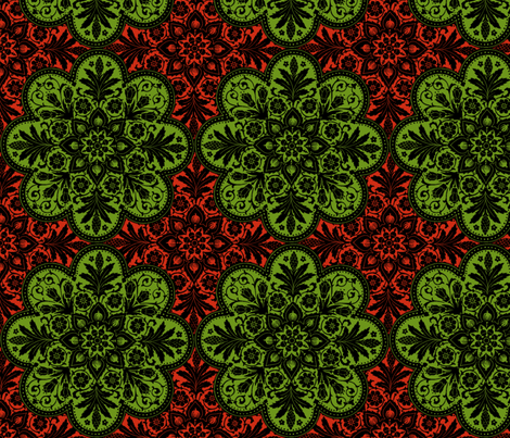 Mumbai Tile ~ Christmas Apples fabric by peacoquettedesigns on Spoonflower - custom fabric