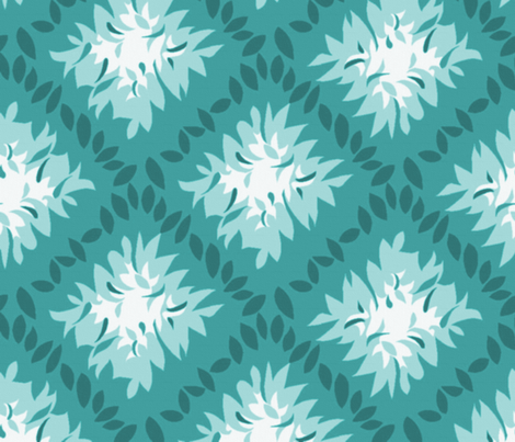 Deco Leaves ~ Emerald fabric by peacoquettedesigns on Spoonflower - custom fabric