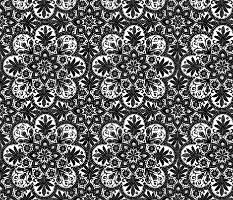 Mumbai Tile ~ White and Black fabric by peacoquettedesigns on Spoonflower - custom fabric