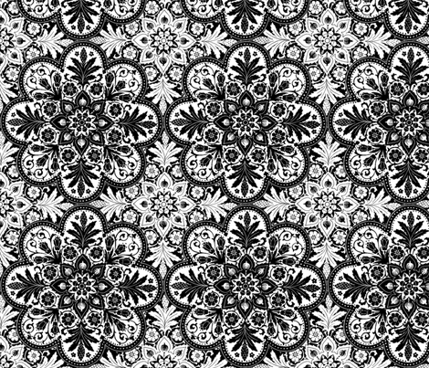Mumbai Tile ~ Black And White fabric by peacoquettedesigns on Spoonflower - custom fabric
