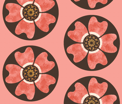 Deco Dog Rose ~ Duchess fabric by peacoquettedesigns on Spoonflower - custom fabric