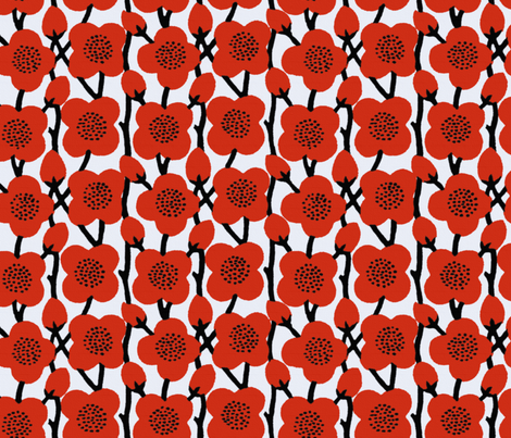 Deco Blooms ~ Poppies in Richelieu Red fabric by peacoquettedesigns on Spoonflower - custom fabric