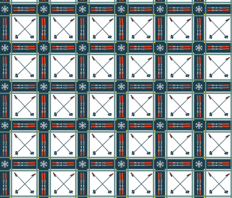 Retro Tartan Plaid Skis and Poles fabric by lisakling on Spoonflower - custom fabric