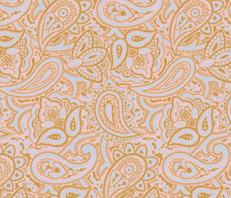 Persnickety Paisley ~ Versailles Fog with Gilt and Dauphine fabric by peacoquettedesigns on Spoonflower - custom fabric