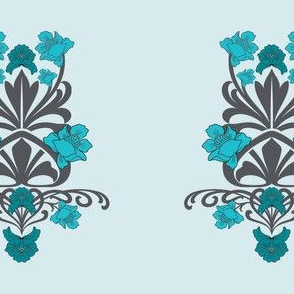 Blue Flower Damask