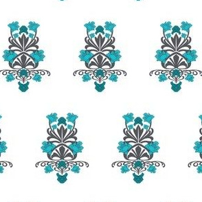 Teal Blue Flower Damask