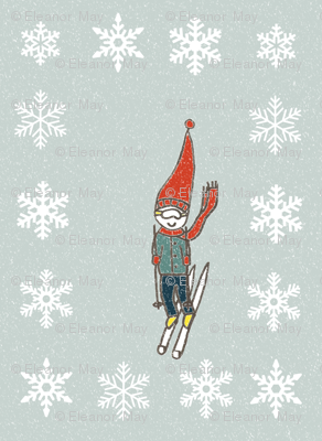 Retro Skier in the snow