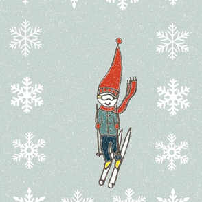 Retro Skier in the snow