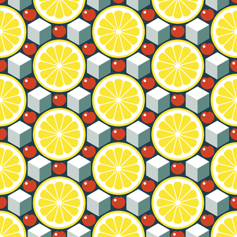 apres ski - lemon, cherry and ice fabric by sef on Spoonflower - custom fabric