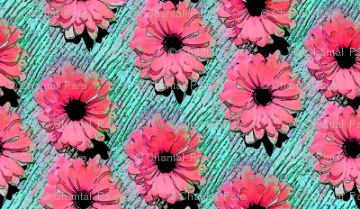 Pop Art Daisies pink/aqua