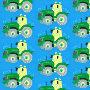Green Tractor on Blue.  From a hand painting by Samantha Barnes