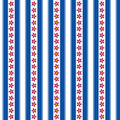 Blue Stripes with Red Stars