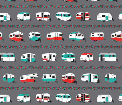 Happy campers med in red and aqua fabric space moderne for Red space fabric