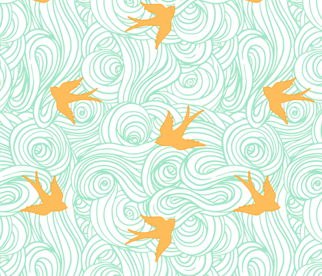 Ocean Flight in Canary and Mint fabric by willowlanetextiles on Spoonflower - custom fabric
