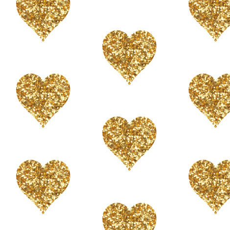 Gold Glitter Hearts fabric by willowlanetextiles on Spoonflower - custom fabric