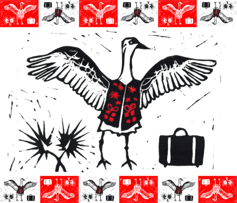 Overdressed - Snowbird Christmas fabric by aldea on Spoonflower - custom fabric