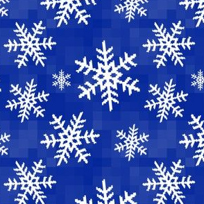 8-Bit Snow Flake - Dark Blue