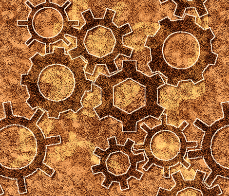 Simple Gears in Copper tones fabric by peace_mistwallow on Spoonflower - custom fabric