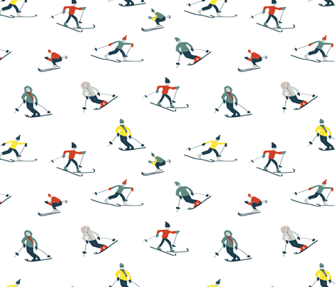 Retro Skiing fabric by abbyg on Spoonflower - custom fabric
