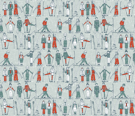 vintage ski linen fabric by scrummy on Spoonflower - custom fabric
