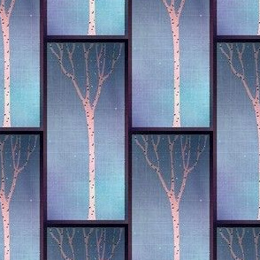 Birch Tree with Nightime Sky