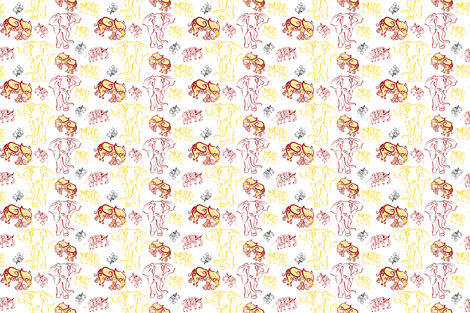 Tusked (on white) fabric by implexity on Spoonflower - custom fabric