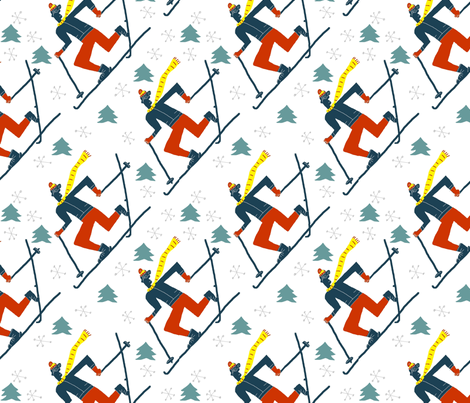 snowflake skiers fabric by kimmurton on Spoonflower - custom fabric
