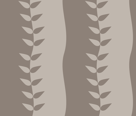 Warm Grey Wavy Leaves fabric by carbonatedcreations on Spoonflower - custom fabric