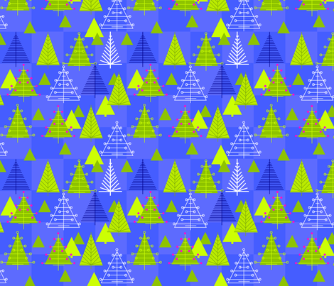 Night Trees Blue Check fabric by sarah_nussbaumer on Spoonflower - custom fabric