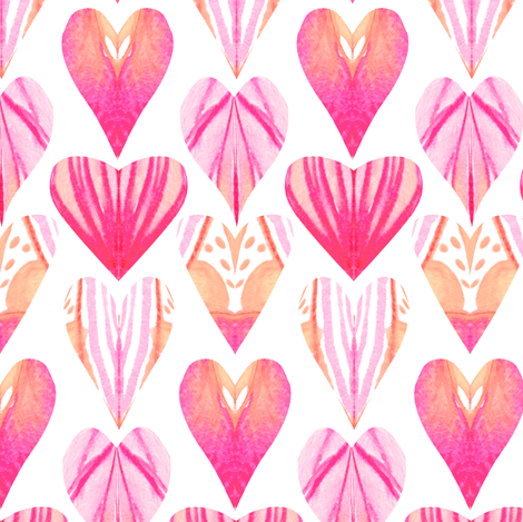 Watercolor Pink Purple Heart fabric by emilysanford on Spoonflower - custom fabric